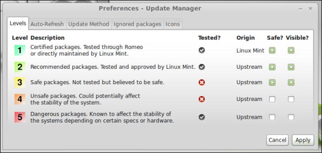 linux-mint-update-levels