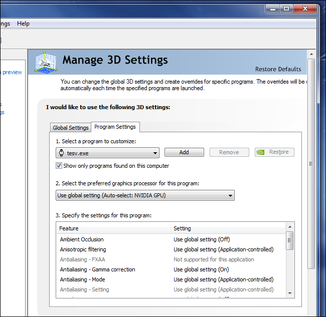 nvidia-manage-3d-application-settings