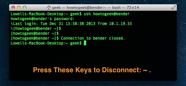 How to Disconnect from SSH in a Terminal on Mac OS X - Tips ...
