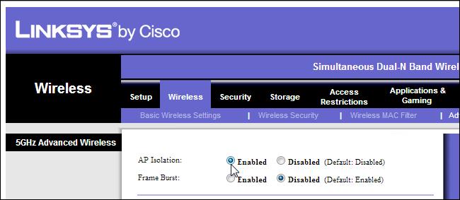 Resultado de imagen para modem router configuration linksys ap isolation