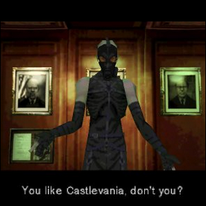 Psycho Mantis, demonstrating the fourth wall breaking Easter egg