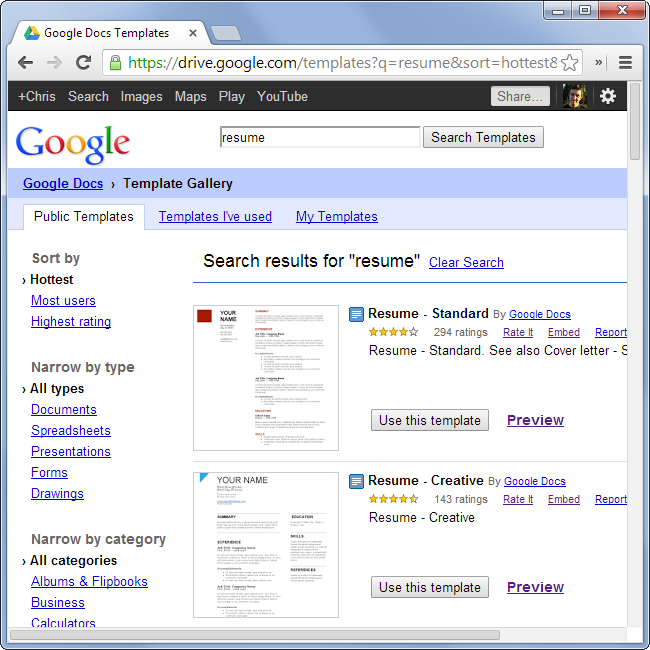 Browse Google Docs Resume Templates  Resume Templates Google