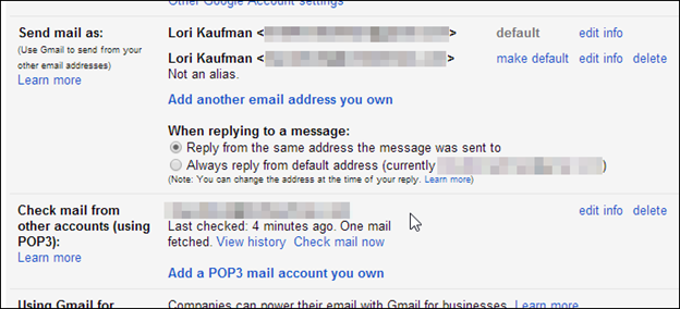 how to make a different gmail account default
