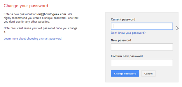 gmail reset password page