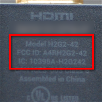 Close up view of the first-generation Chromecast model number
