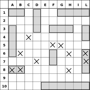 An example of the original paper-based Battleship map