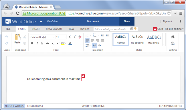 real time editing on word online