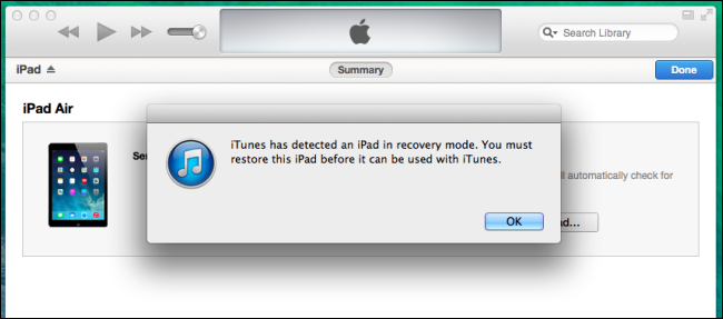 ipad air force recovery mode