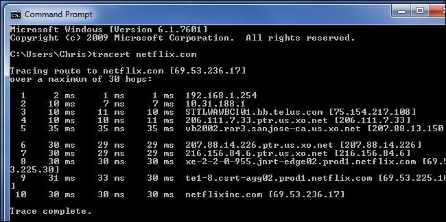 tracert-netflix