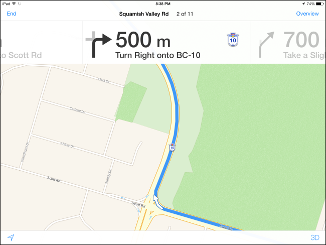 on directions on google maps app
