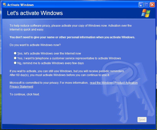 HELP - Windows XP just told me I need to re-activate and then shut down?