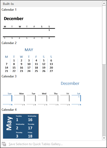 insert calendar in word document