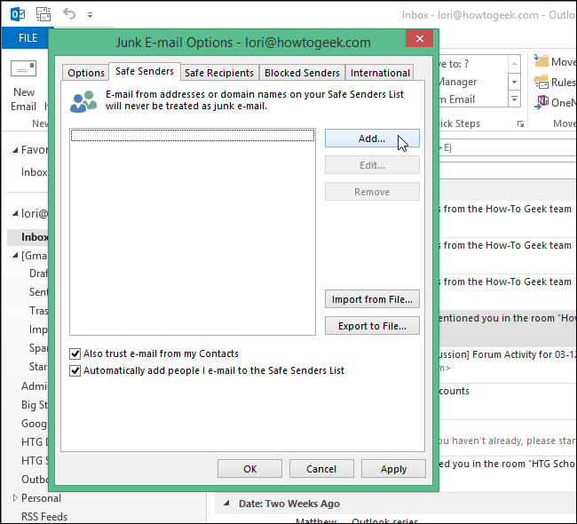 How to add email address to safe senders in outlook
