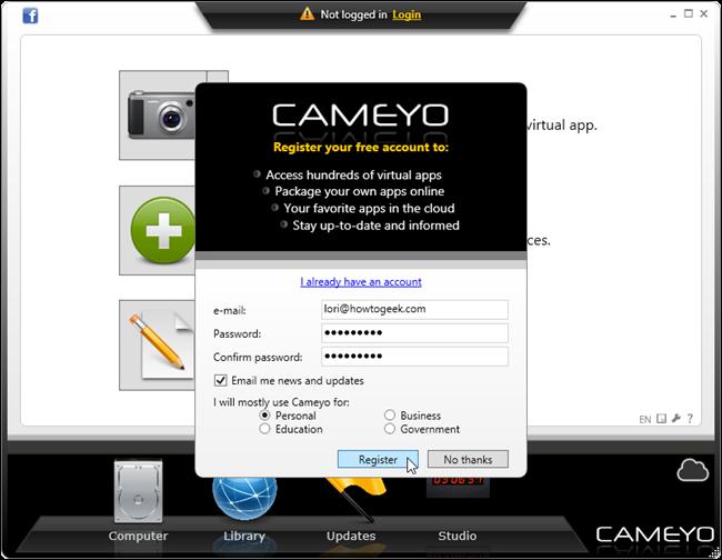 cameyo portable app builder