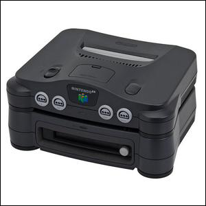 The Nintendo 64DD attached to the Nintendo 64 console.