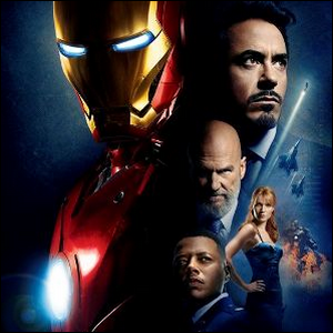 Iron Man promotional photo featuring the principle cast and the Iron Man suit