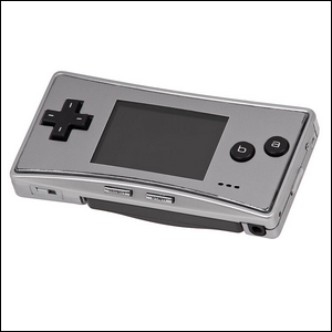 A silver Game Boy micro model on a white background