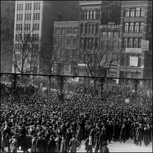 Large crowd on a city street