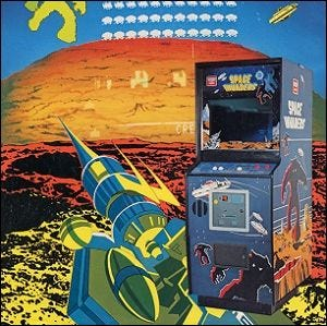 A promotional arcade flyer for Space Invaders