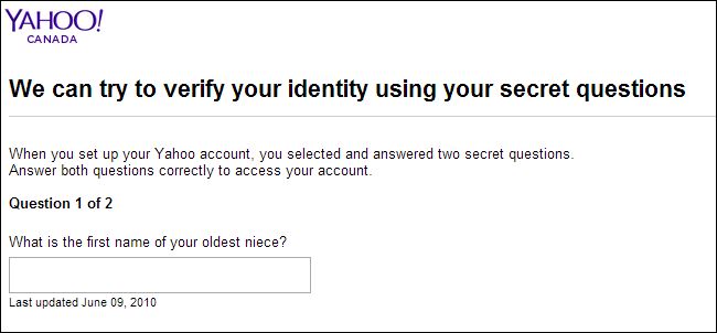 answer security questions yahoo