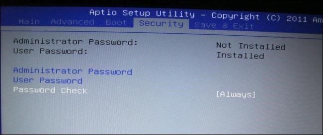 acer hard disk security password