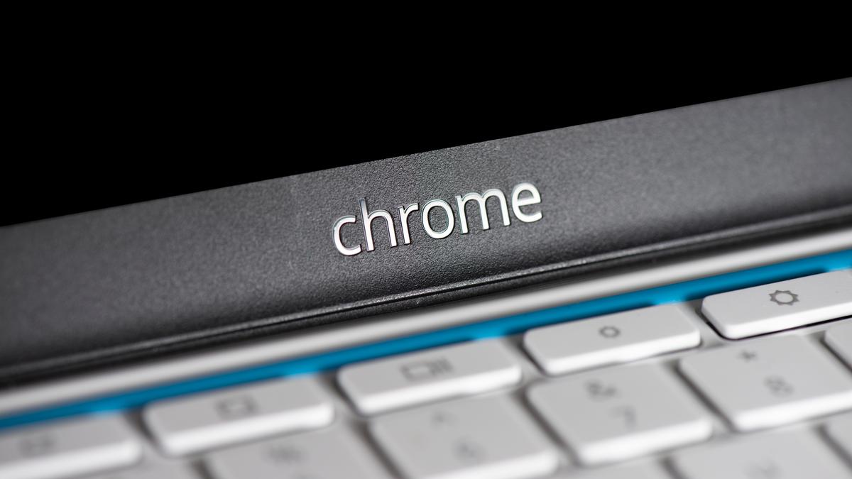 Chrome logo over a Chromebook's keyboard