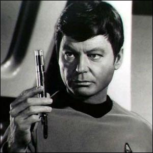 Dr. McCoy on Star Trek: The Original Series, holding a hypospray