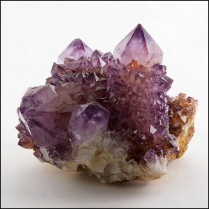 A large sample of amethyst, uncut and in its natural crystalline form