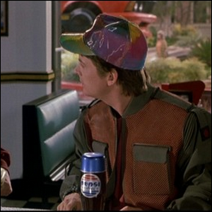 Marty McFly with a Pepsi Perfect in the film Back to the Future Part II