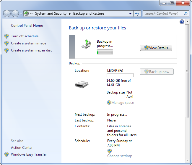 Backup Windows 7