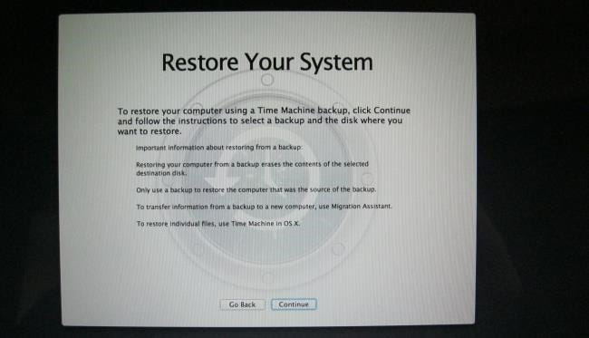 restore computer from time machine