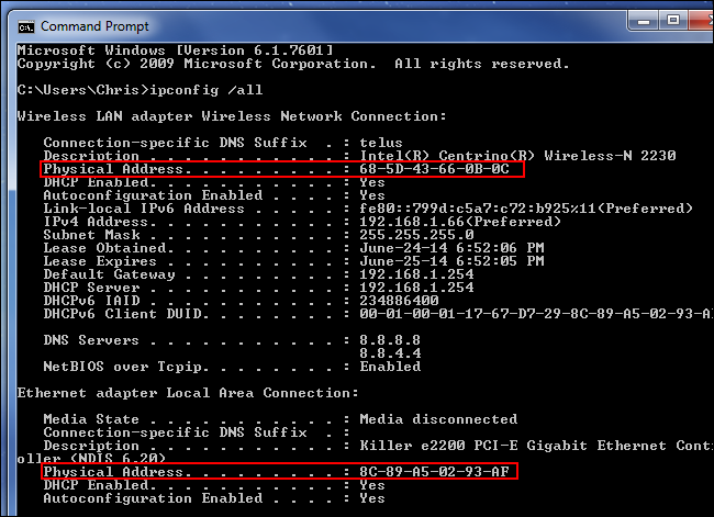 find-mac-addresses-with-ipconfig-all-on-windows