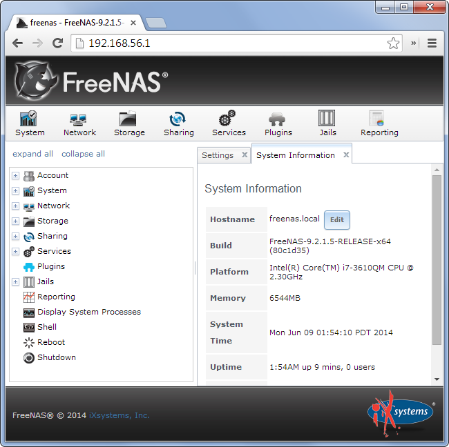 freenas-web-interface