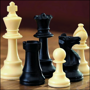 Close up of chess pieces on a chess board