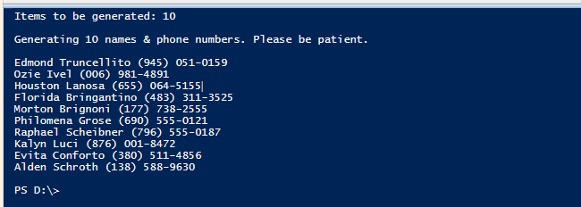 How to Generate Random Names & Phone Numbers with PowerShell - Tips