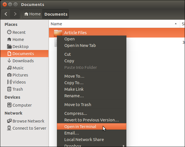 How to Open Terminal to a Specific Folder in Ubuntu's File