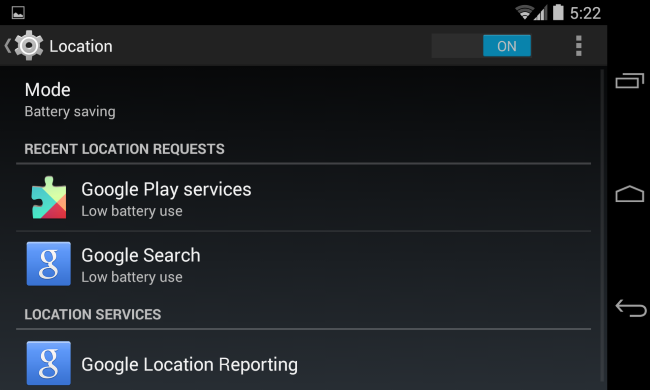 android-choose-location-mode