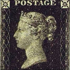 """The world's first adhesive postage stamp used in a public postal system, the """"penny black""""."""