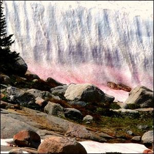 An example of pink snow in the mountains.