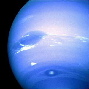 Close-up view of the weather patterns on Neptune