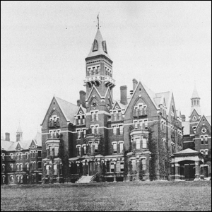 An old photograph of the imposing Victorian style grounds of the Danver State Hospital