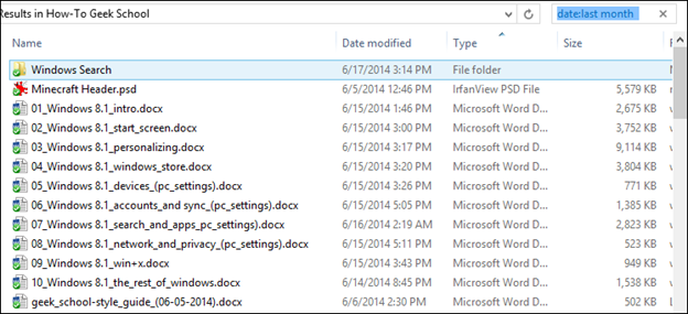 how to search in date range windows 10