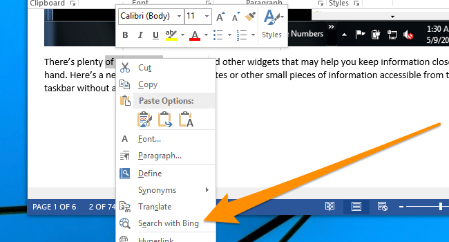 """How To Change """"Search With Bing"""" In MS Word To Use Google"""