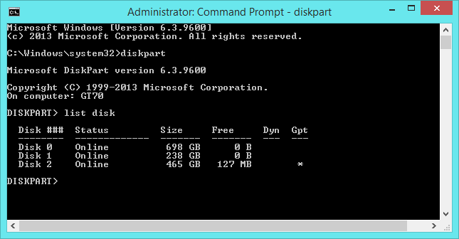 diskpart-list-disk-command