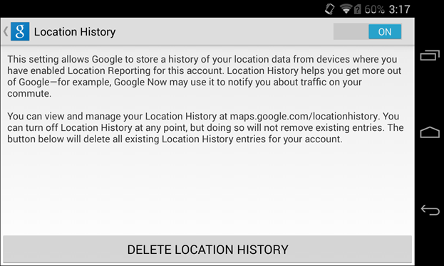 how to delete location history