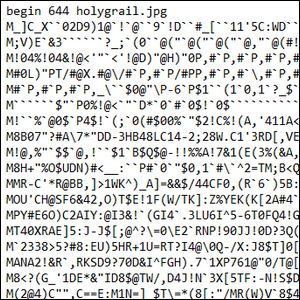 An example of early email attachment encoding