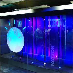 A bank of computers showcasing a section of the Watson supercomputer at an IBM lab