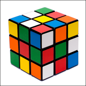 A product photo of the colorful and iconic Rubik's cube