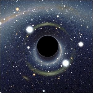 A computer rendering of a black hole stretching time and space