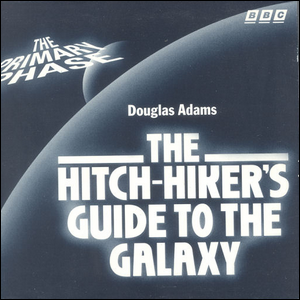 Cover art for the first part of the Hitchhiker's Guide to the Galaxy radio series